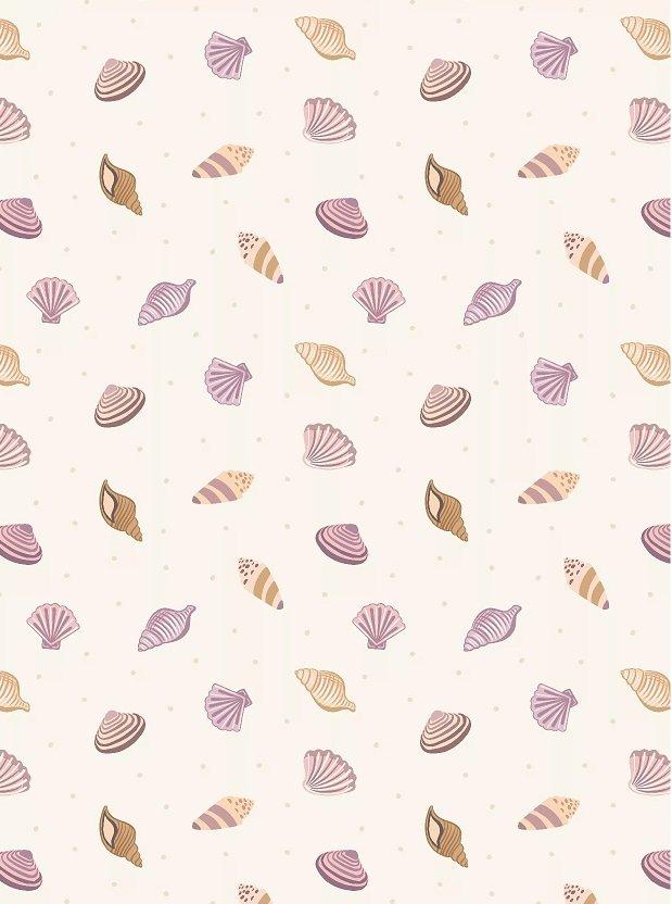 Small Things by the Sea -Lilac & tan seashells cream