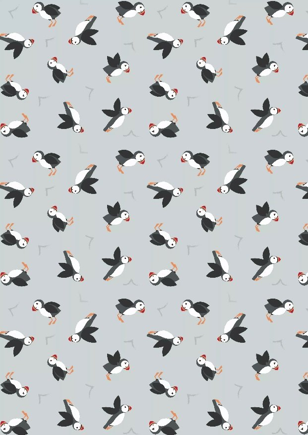 Small Things by the Sea - puffins on grey
