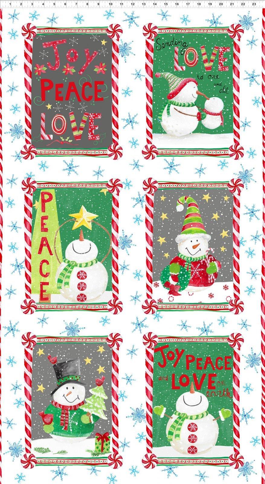Joy Peace and Love - snowman panel
