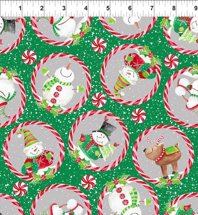 Joy Peace and Love - snowmen/reindeer candy cane circles