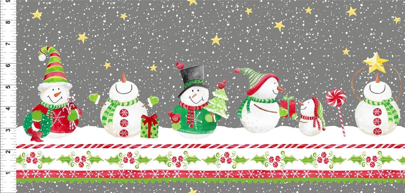 Joy Peace and Love - snowmen border stripe