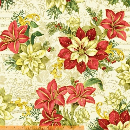 A Song of Christmas- poinsettias on musical cream background