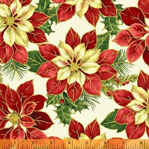 A Song of Christmas-red/cream poinsettias