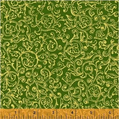 A Song of Christmas-gold scrolls on green