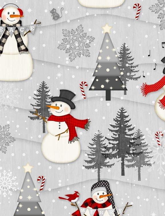 Snowy Wishes - snowmen in grey wintery scene
