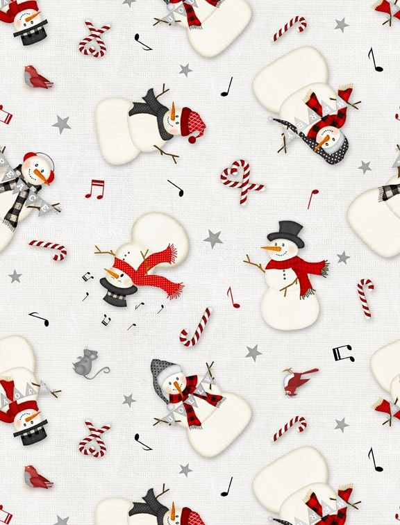 Snowy Wishes - tossed snowmen light grey
