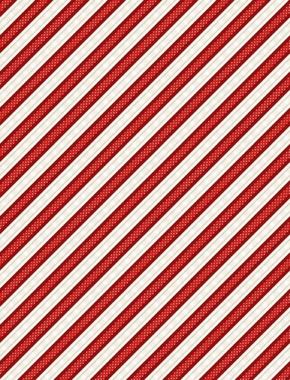 Snowy Wishes - red/white diagonal stripe