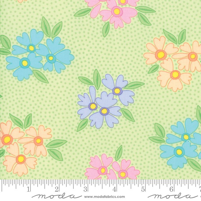 Good Day - multi stylized flowers on green background