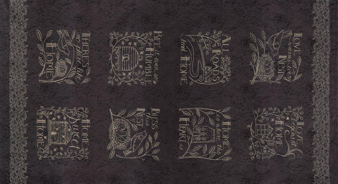 Home - tan designs on black panel