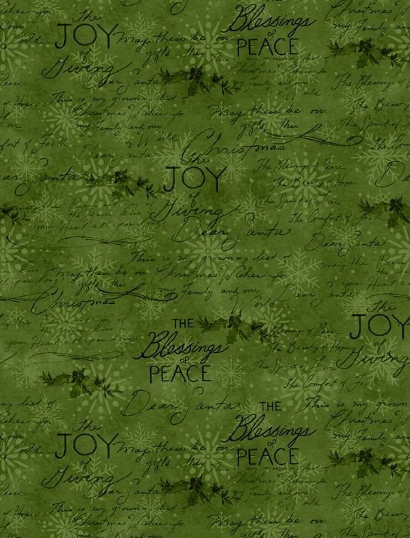 The Joy of Giving - writing on green snowflakes