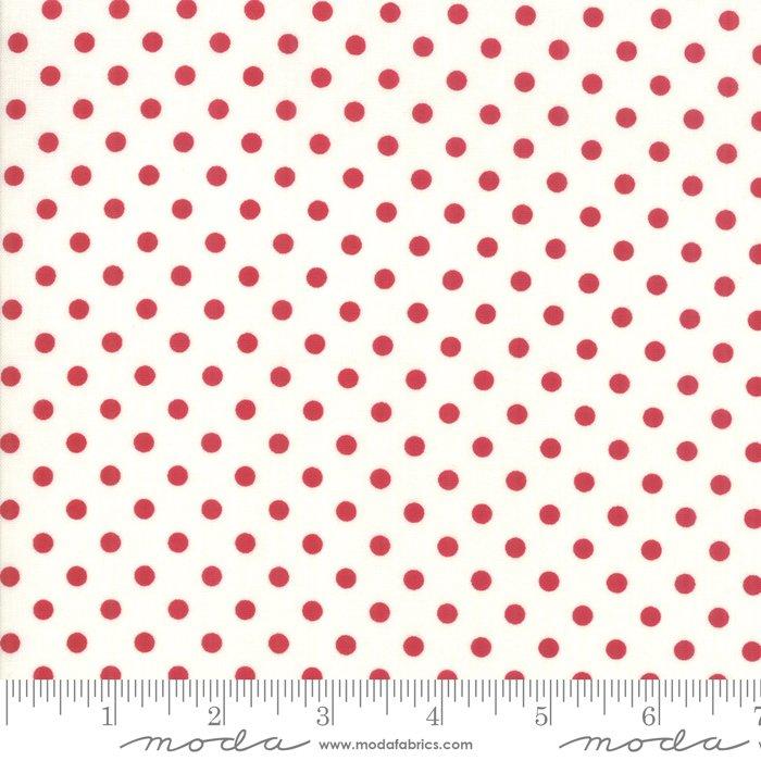 My Redwork Garden -red dot on cream