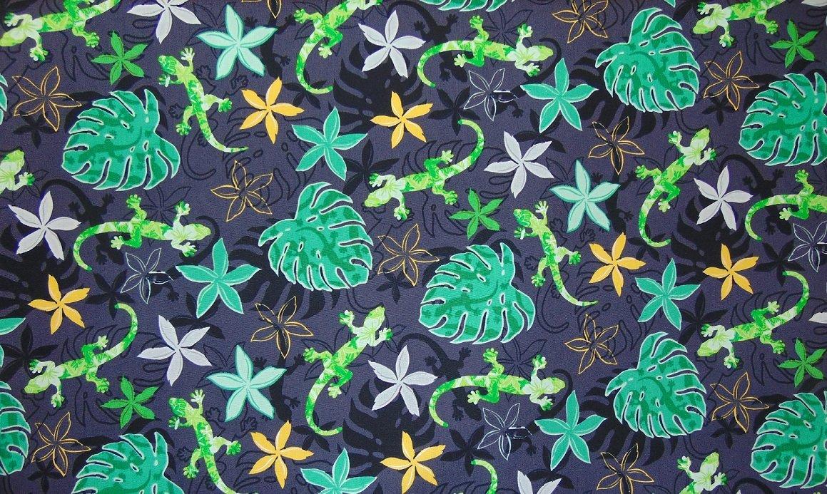 Lizards & leaves on black