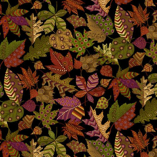 Autumn Is Calling-stylized leaves on black