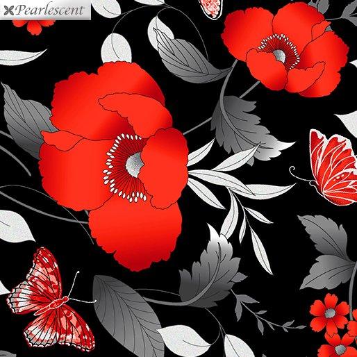 Poppy Promenade - red poppies/butterflies