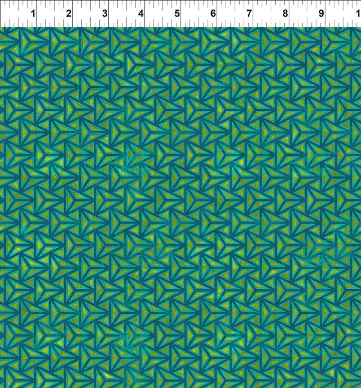 Cosmos- teal 3D triangle on green