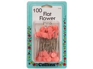 Pink Flat Flower Pins 100pc