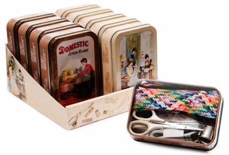 Vintage Tin Sewing Kit Assortment