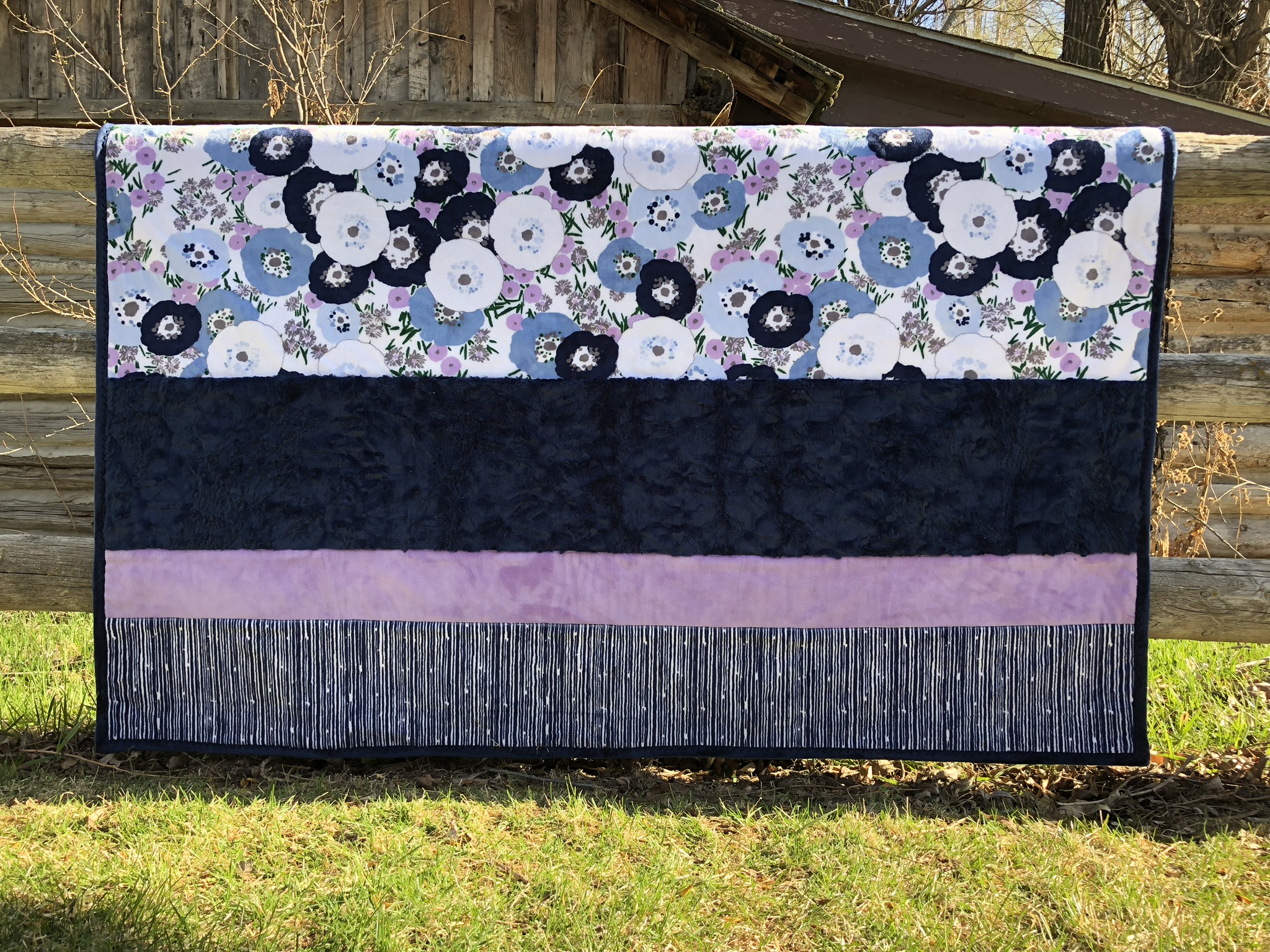 Navy and Lilac Blossoms 60 x 72