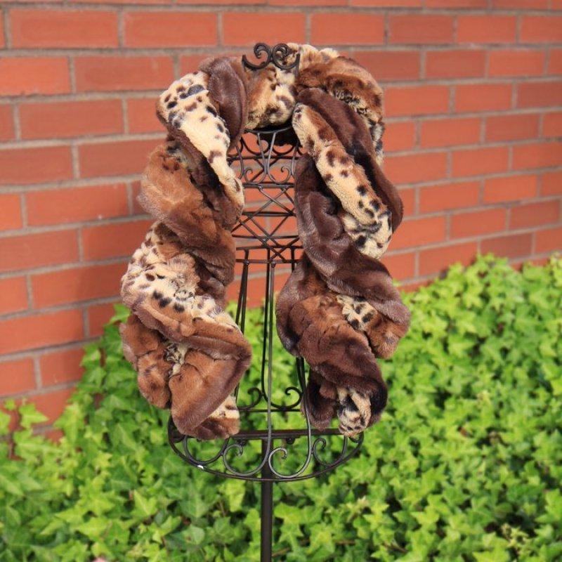 Twisty Twirly Scarf Fancy Leopard Golden Brown