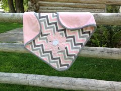 Pink and Grey Chevron snuggly with Daisy