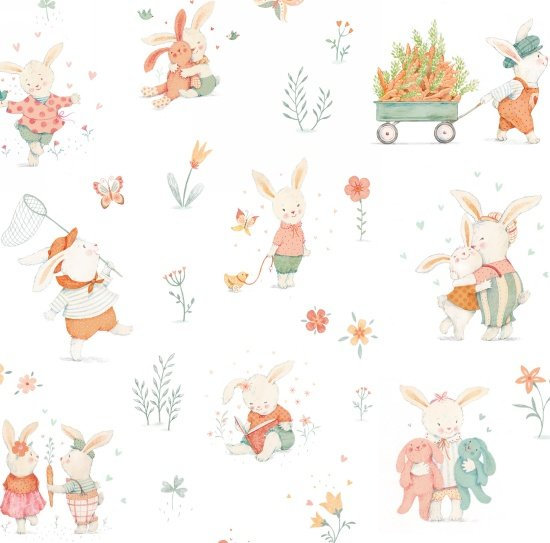 Bunny Tales Flannel Bunnies Playing White