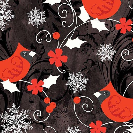 Merry Little Christmas Red Cardinal BLK