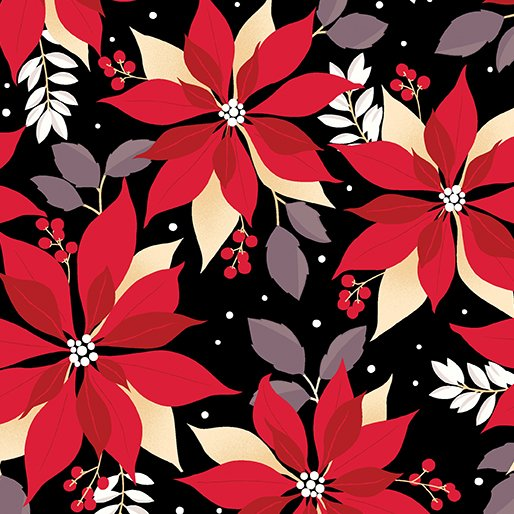 Winter Story Poinsettia BLK