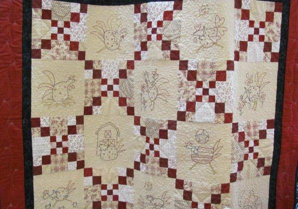 Chicken Stitchery Eight Quilt Kit  56 x 56