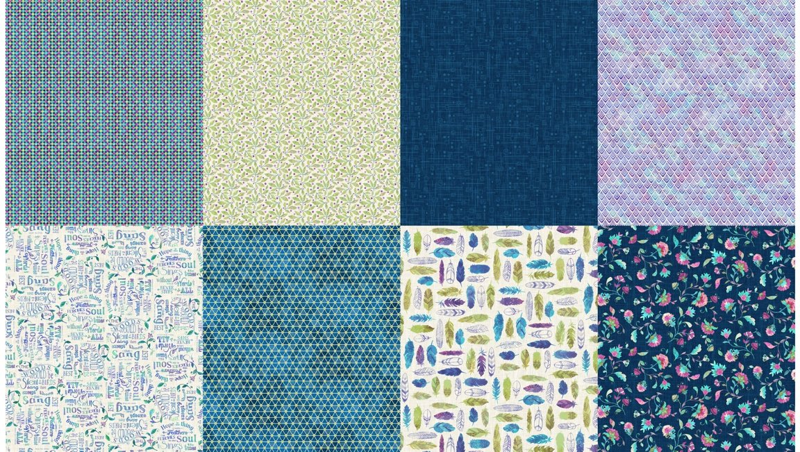 All a Twitter Fat Quarter Panels (Second Colorway): Blueberry