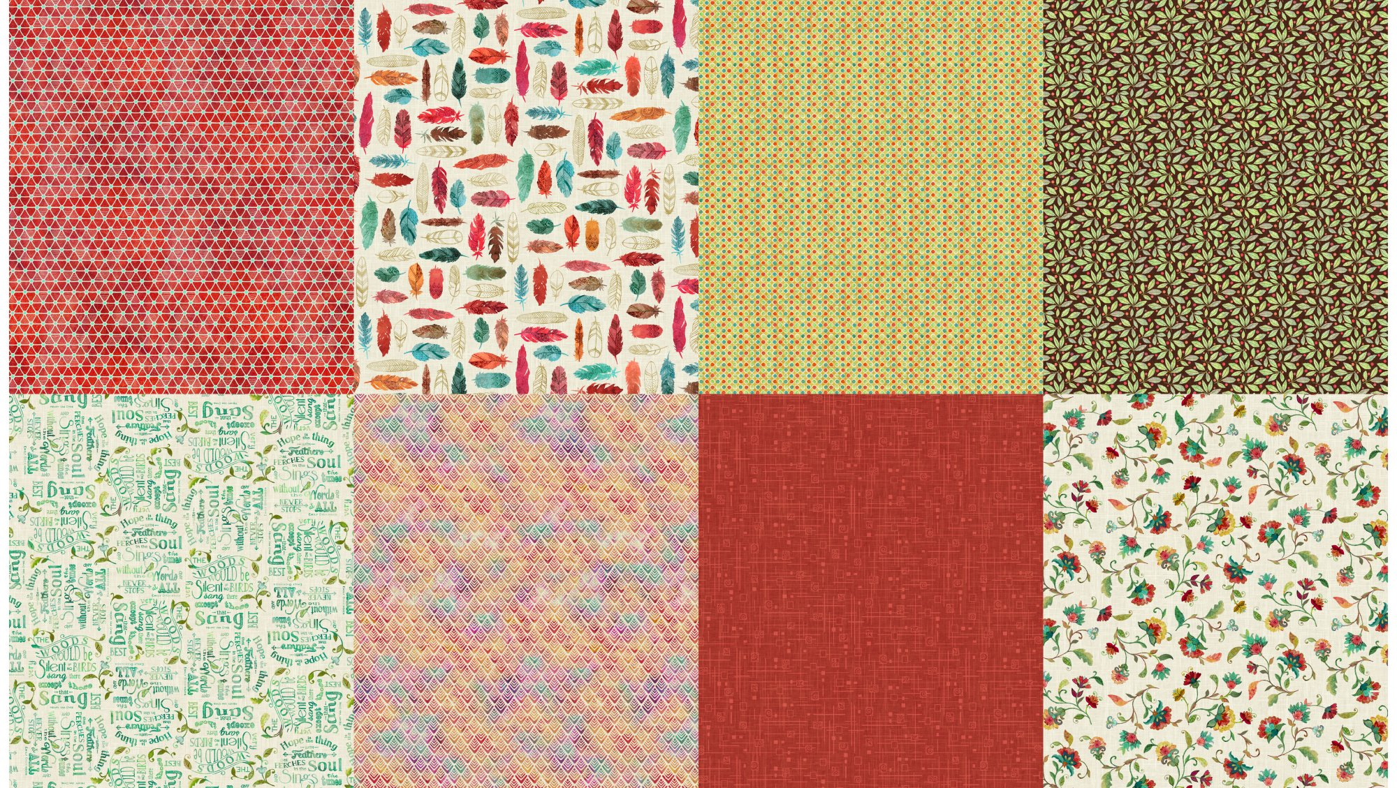 All a Twitter Fat Quarter Panels: Carnation