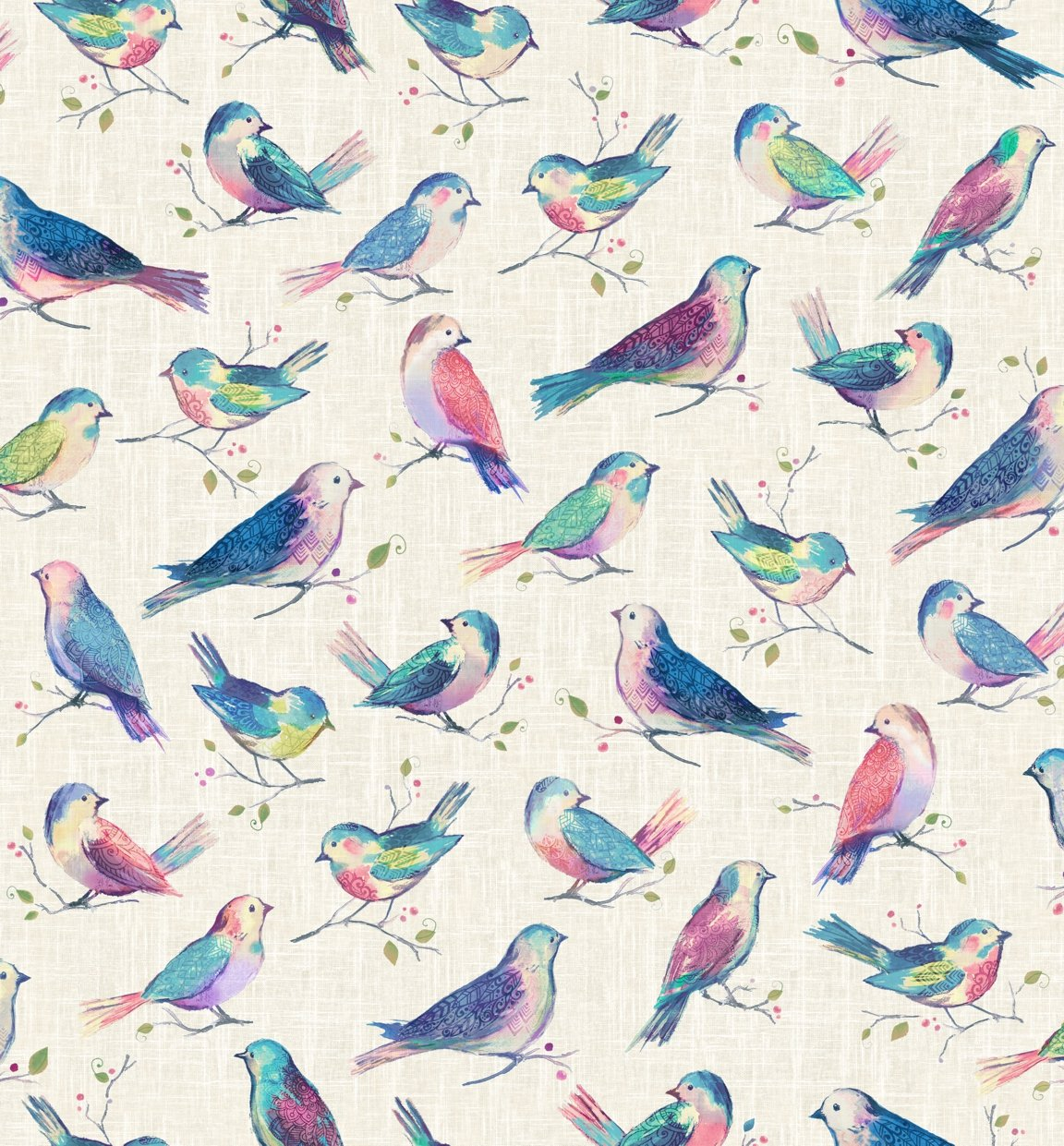 All a Twitter Digitally Printed Birds (Second Colorway): Sweatpea Birds