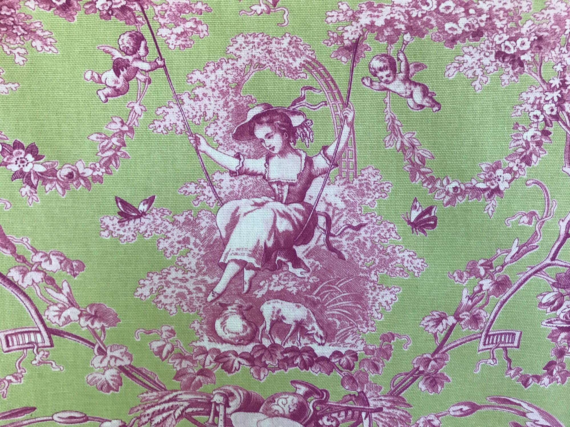 Green and pink Toile With Woman on swing