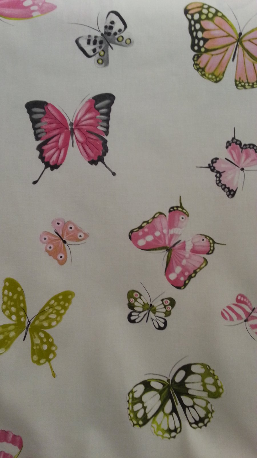 Butterfly drapery fabric on off white 108 inches wide #45