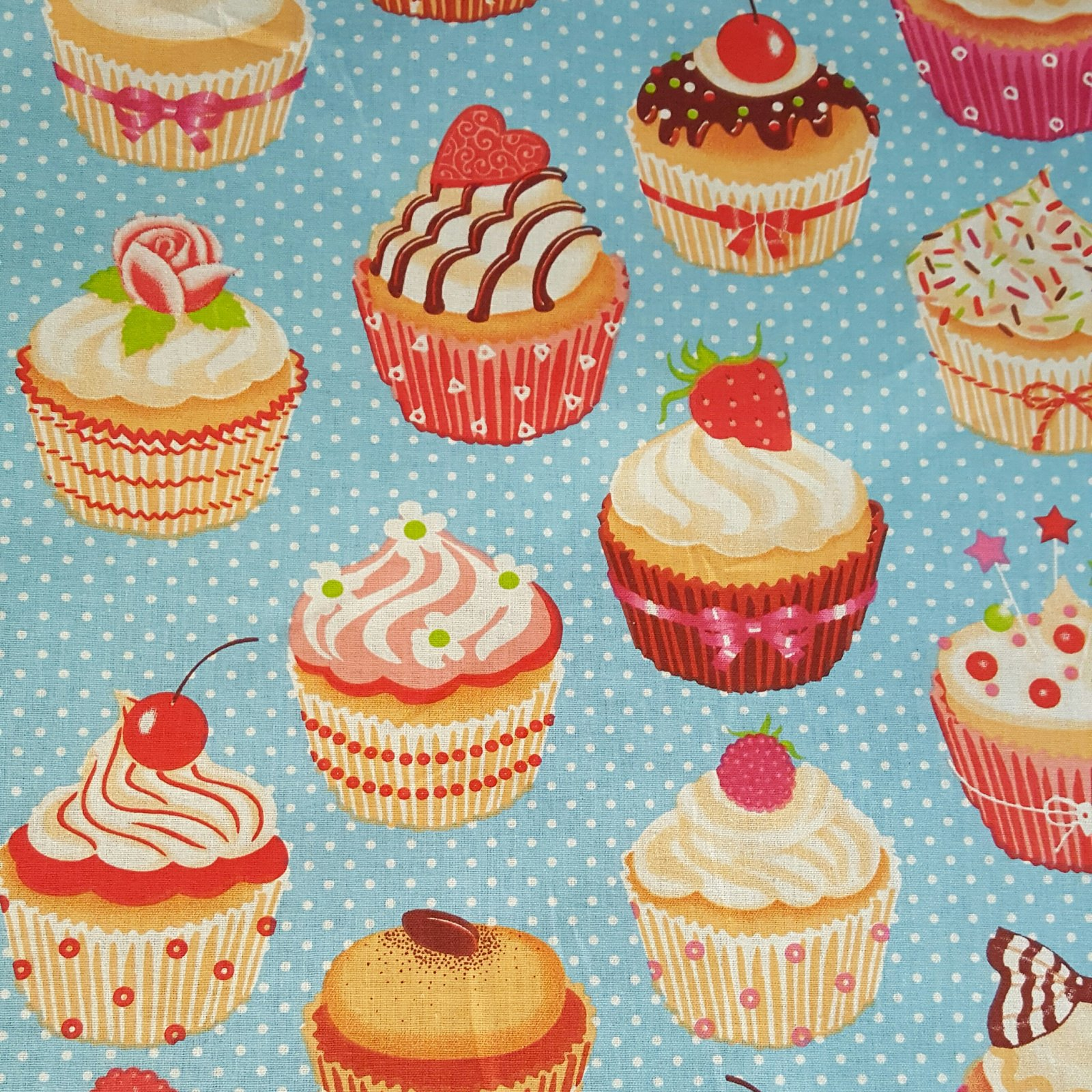 French cupcake fabric (blue) #524