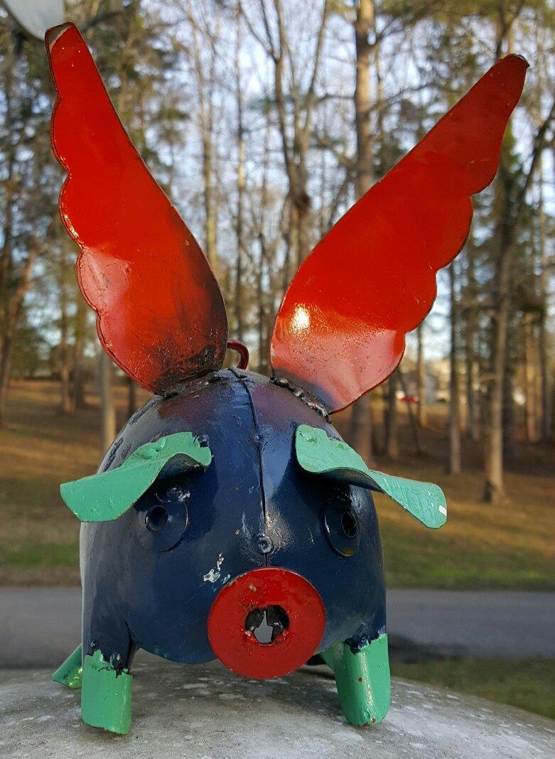 Mini metal flying pig (dark blue) #010