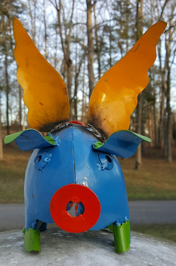 Mini metal flying pig (blue) #007