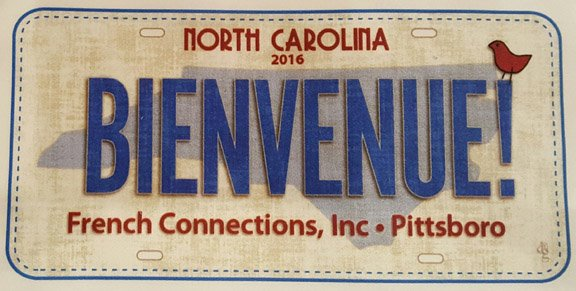2016 Row by Row Fabric License Plate - Bienvenue!