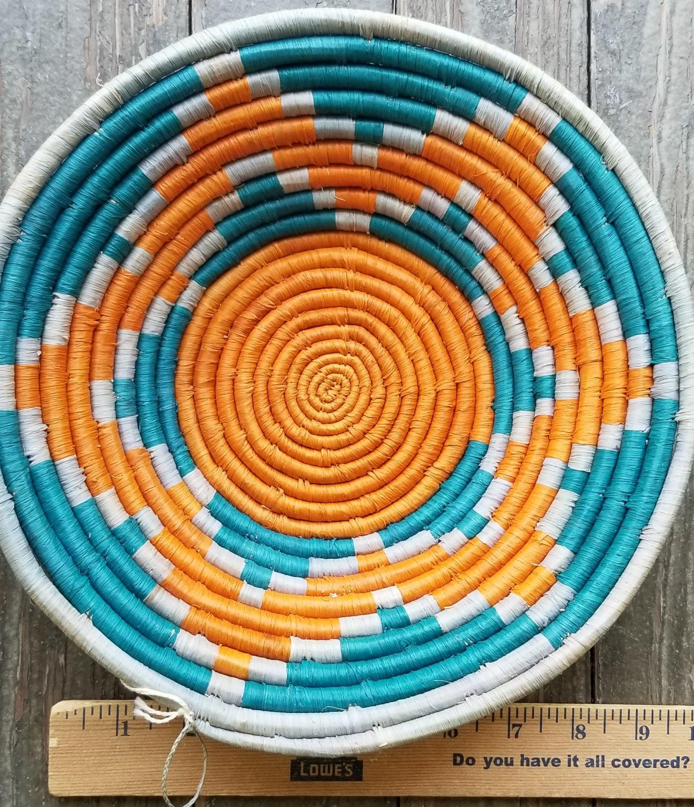 Uganda Basket With Orange and Teal #001