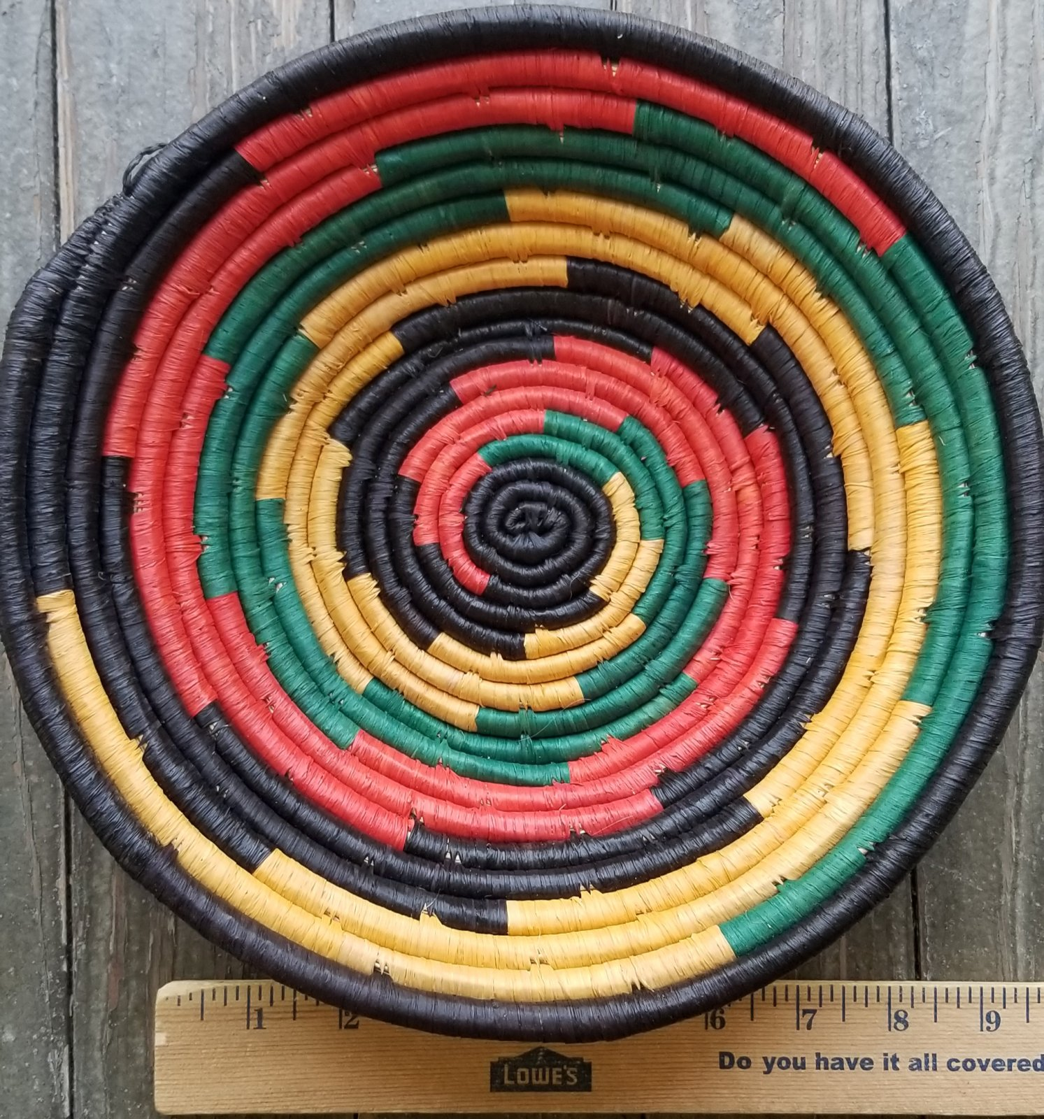 Uganda Basket With Red and Green #002