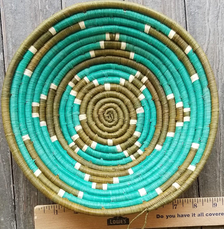 Uganda Basket With Green and Teal #003