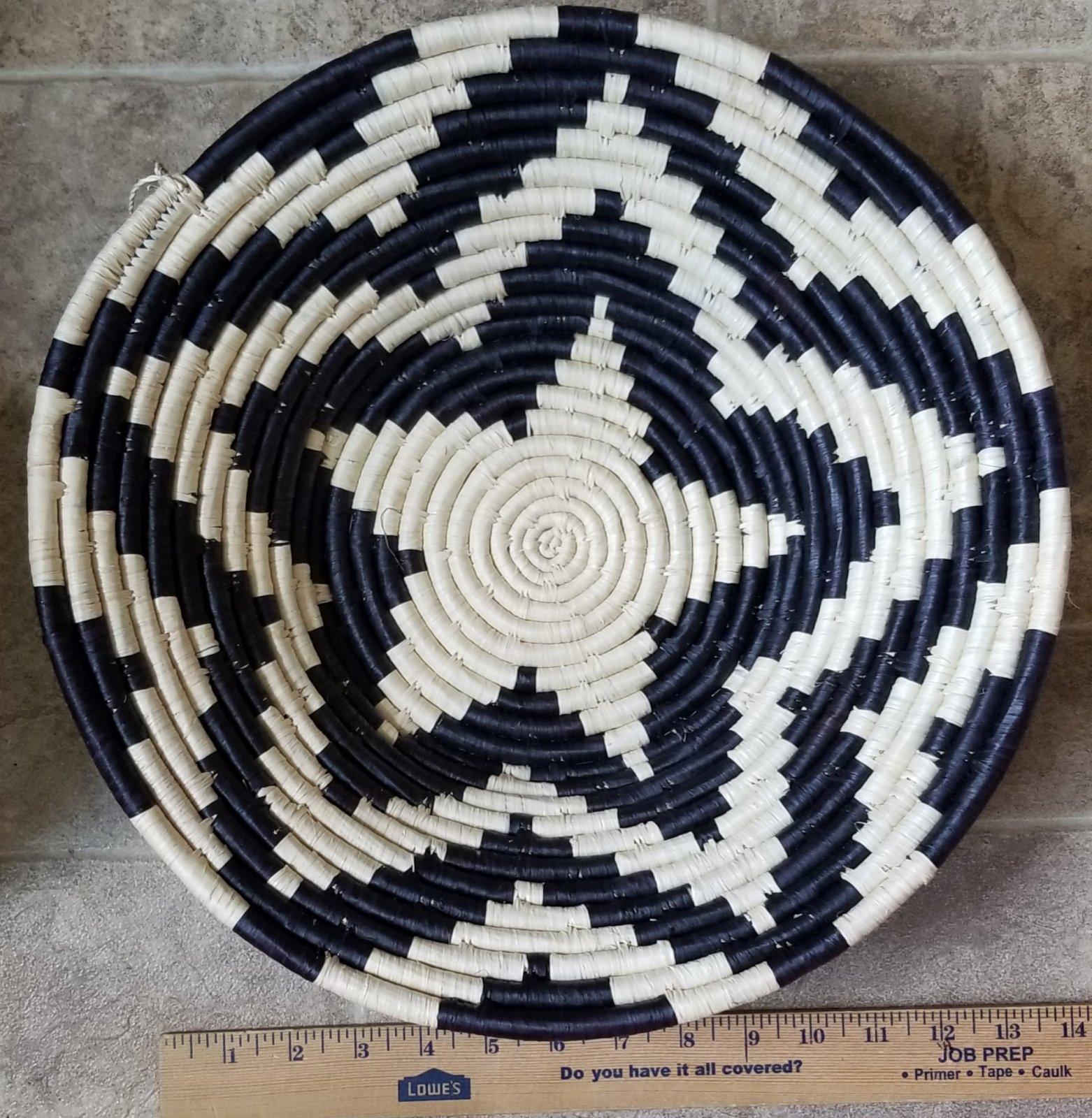 Uganda Basket Black and White Star Large #017