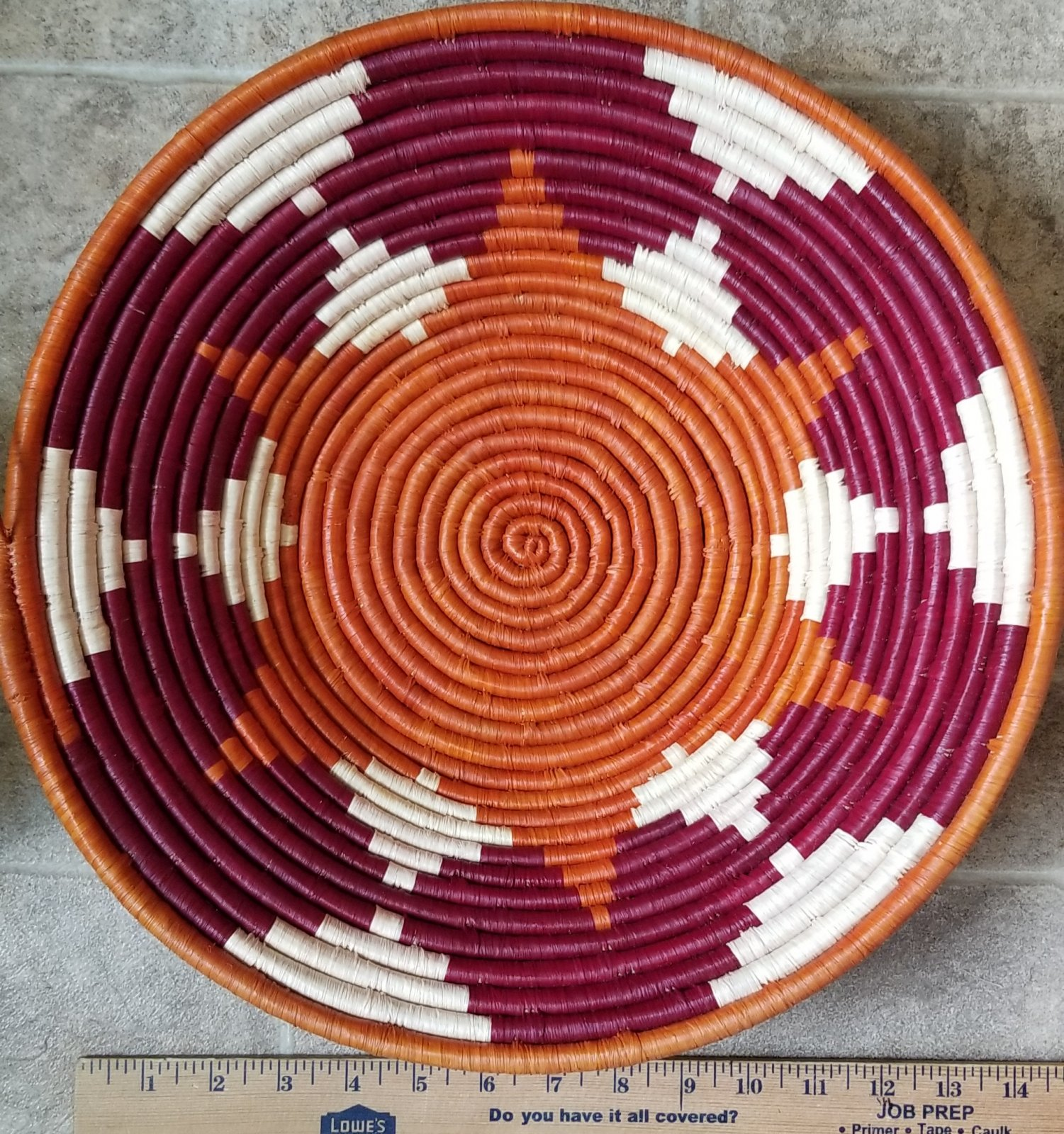 Uganda Basket Burgundy and Orange Large #018