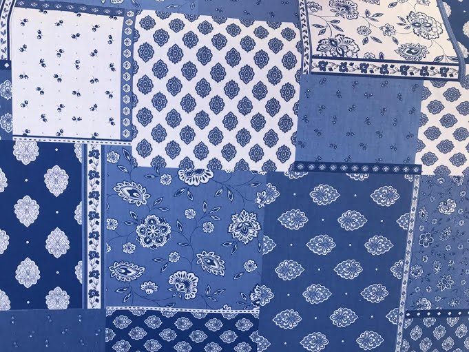 French Patchwork fabric (Blue & White) #625