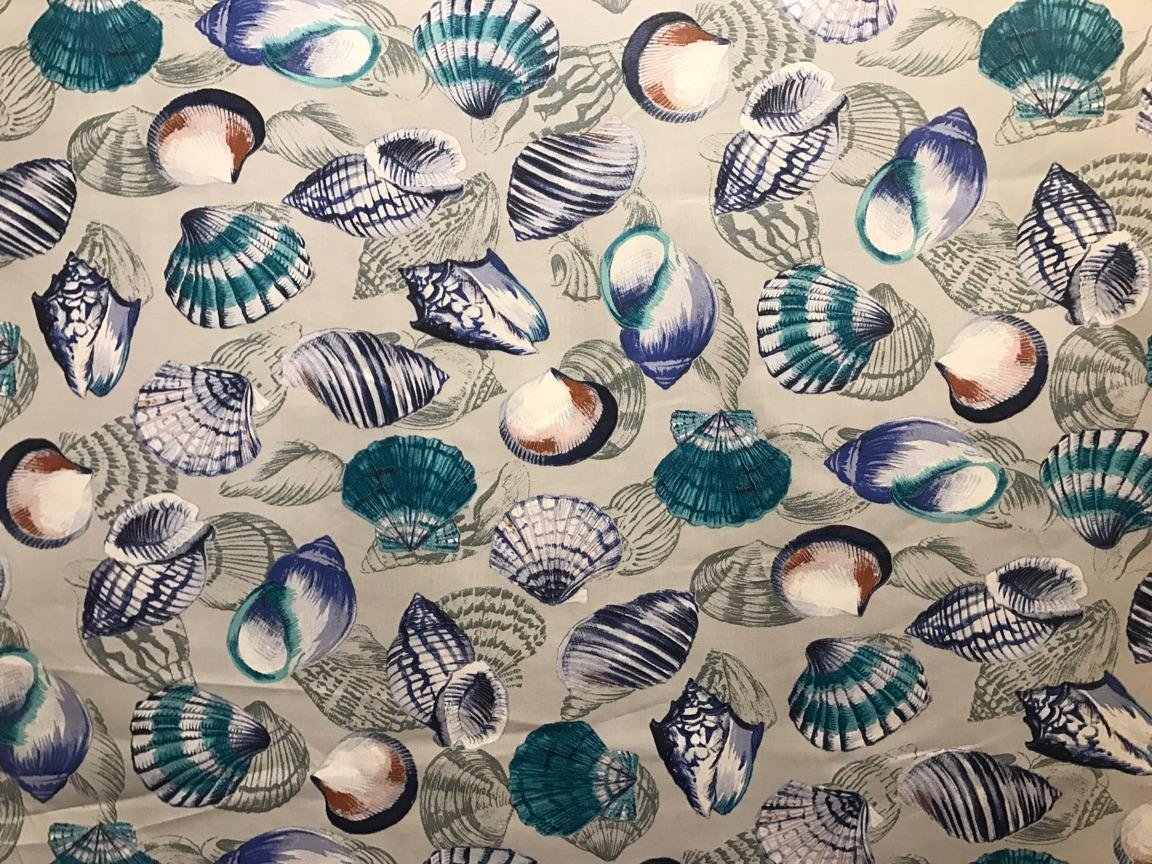 Acrylic Coated Blue Seashell Fabric #601