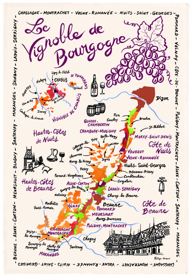 Torchons & Bouchons Burgundy Vinyard Map tea towel