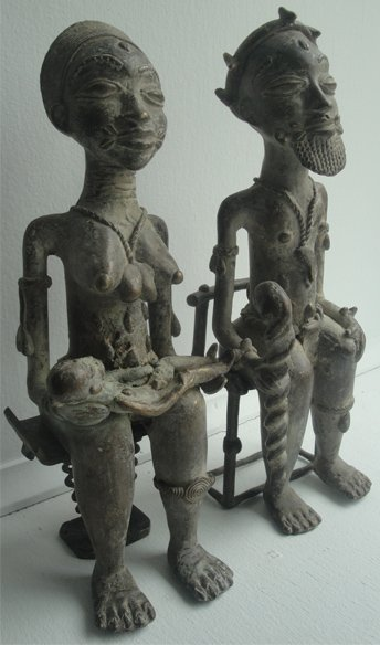 Ivory Coast Baule Brass Statue Set #001