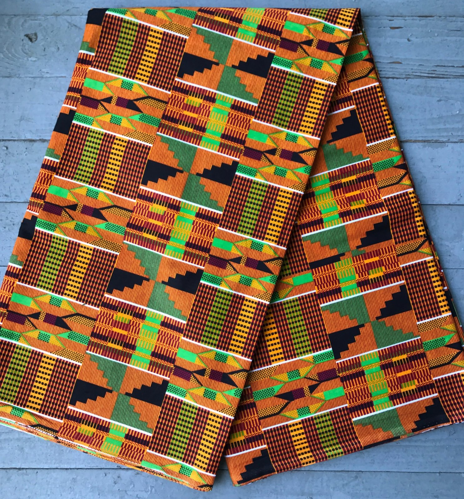African Kente Cloth printed fabric #155