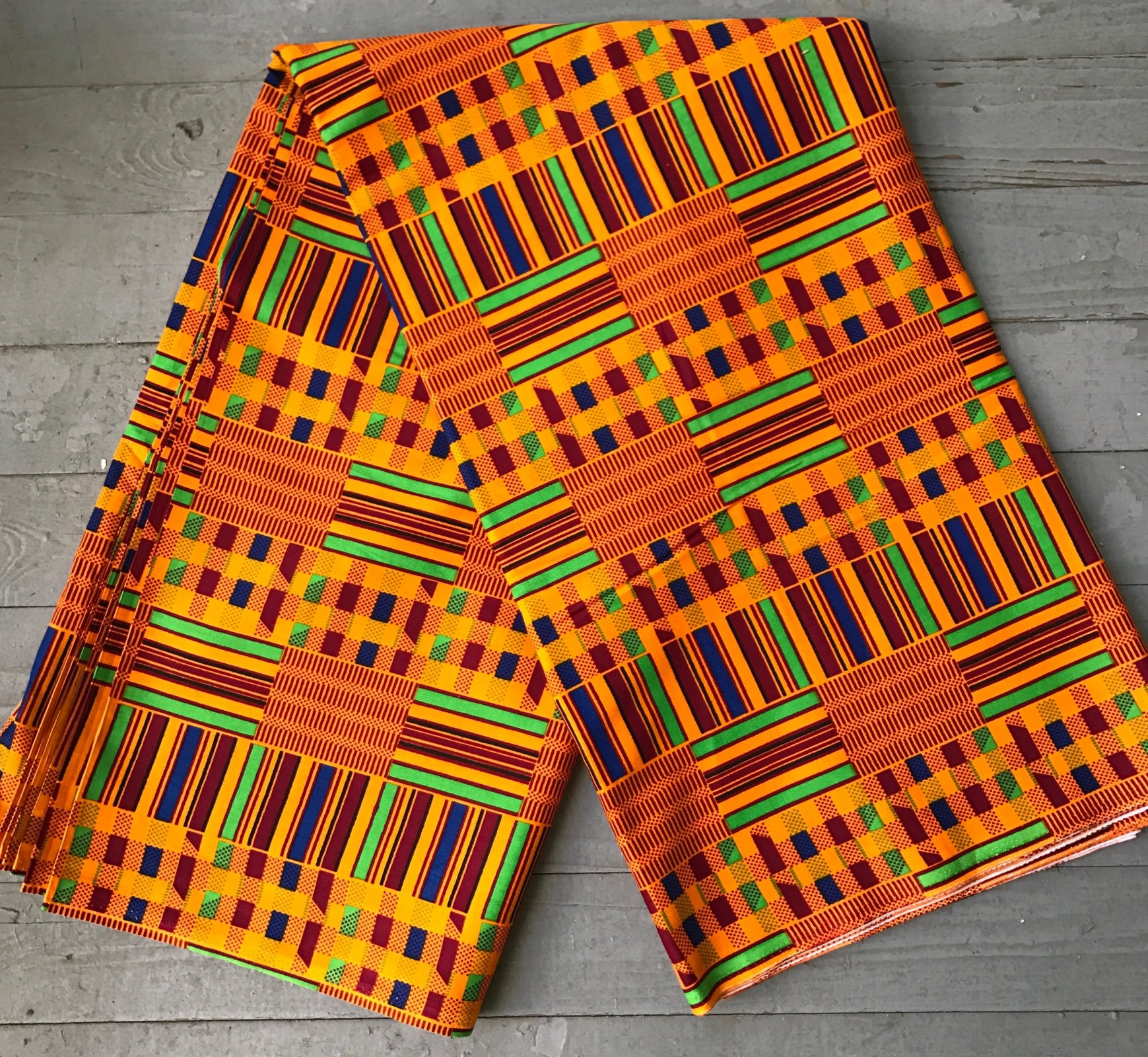 African Orange Kente Cloth printed fabric #428