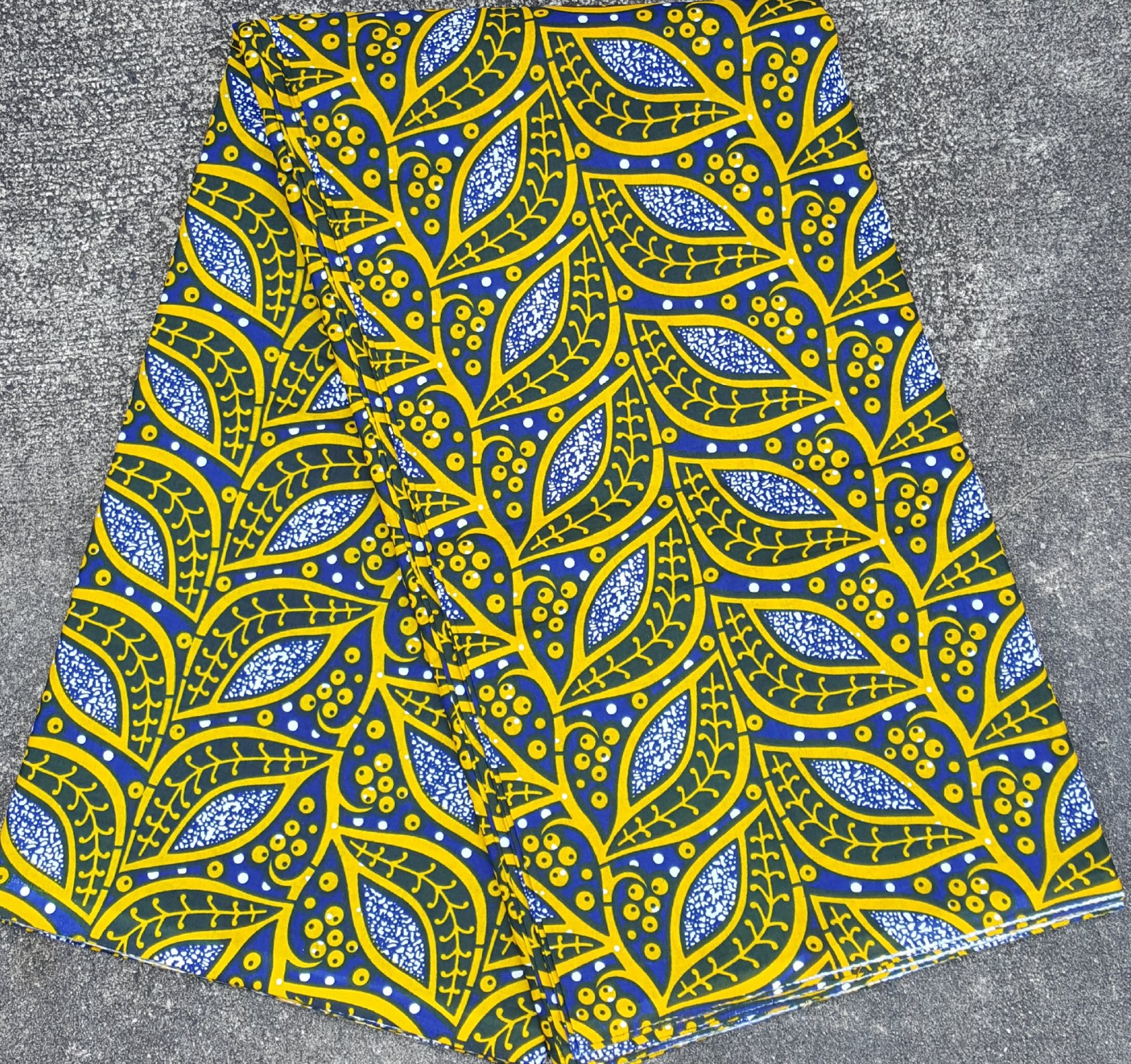 African Blue and Yellow printed fabric #472