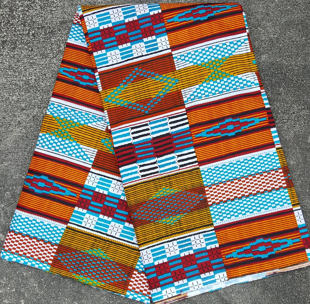 African Multicolored Kente Print Fabric #474